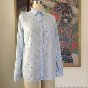Old Navy Flamingo Print Button Down